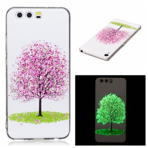 Noctilucent IMD TPU Flexible Case for Huawei P10 Lite - Pink Flower Tree