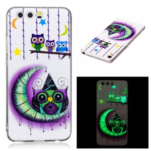 Noctilucent IMD Soft TPU Gel Cover Case for Huawei P10 Lite - Owls, Moon and Stars