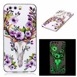 Noctilucent IMD Soft TPU Case Phone Shell for Huawei P10 Lite - Flowered Elk
