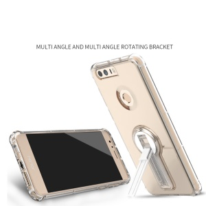 BOW Shock Absorption Clear Soft TPU Phone Case with ABS Kickstand for Huawei Honor 8 - White