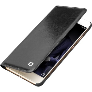 QIALINO Classic Thin Genuine Leather Leather Cover Cover para Huawei P10 - Preto