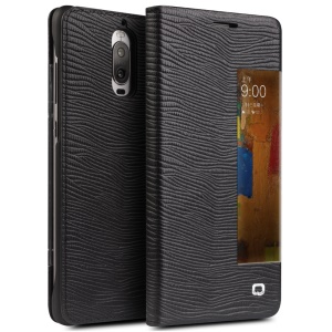 QIALINO Business Smart View Window Lizard Textura Bolsa De Couro De Couro Para Huawei Mate 9 Pro - Preto