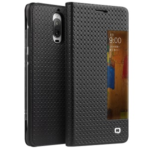 QIALINO for Huawei Mate 9 Pro Smart View Window Grid Texture Genuine Cowhide Leather Case - Black