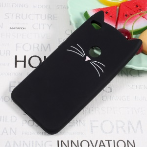 Cute 3D Mustache Cat Soft Silicone Mobile Casing for Huawei P8 Lite (2017) / Honor 8 Lite - Black