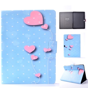 For Huawei MediaPad M2 10.0 Patterned Card Holder Leather Protective Cover with Stand - Pink Hearts