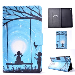 For Huawei MediaPad M2 8.0 Pattern Printing Leather Case with Card Slots - Girl and Boy Playing