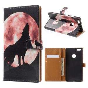 Pattern Printing Leather Wallet Case for Huawei P10 Lite - Wolf Howling at the Moon