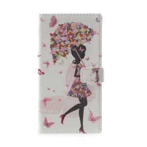 Pattern Printing Leather Wallet Case Cover for Huawei P10 Lite - Flowered Girl Holding Umbrella