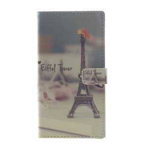 Pattern Printing Leather Wallet Cover Case for Huawei P10 Lite - Eiffel Tower and Mustache