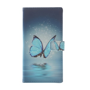 Pattern Printing Leather Card Holder Case for Huawei P10 Lite - Blue Butterfly