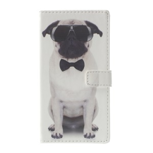 Pattern Printing Leather Wallet Case Accessory for Huawei P10 Lite - Dog Wearing Sunglasses