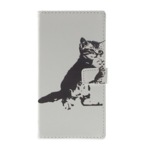 Pattern Printing Magnetic Leather Stand Case for Huawei P10 Lite - Black and White Cat