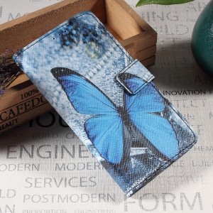 Callfree Leather Wallet Stand Mobile Cover for Huawei P10 - Blue Butterfly