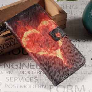Callfree Leather Card Holder Stand Phone Cover for Huawei P10 - Burning Flames