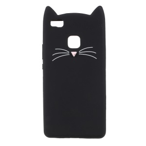 Lovely 3D Moustache Cat Soft Silicone Back Case for Huawei P9 Lite/G9 Lite - Black