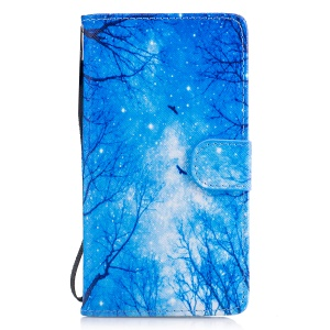 Pattern Printing Leather Wallet Case for Huawei P9 Lite/G9 Lite - Night Scene