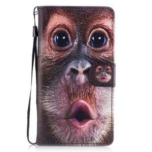 Pattern Printing Leather Wallet Cover for Huawei P9 Lite/G9 Lite - Monkey Pattern