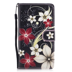 Pattern Printing Leather Card Holder Case for Huawei P9 Lite/G9 Lite - Flowers Pattern