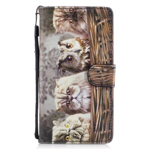 Pattern Printing PU Leather Wallet Case for Huawei P9 Lite/G9 Lite - Cat Pattern
