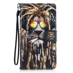 Pattern Printing Leather Wallet Cover Case for Huawei P9 Lite/G9 Lite - Smoking Lion