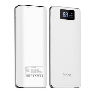 HOCO B23A-15000 2-Port USB 15000mAh Flowed Portable Battery Charger for Samsung S8 etc. - White