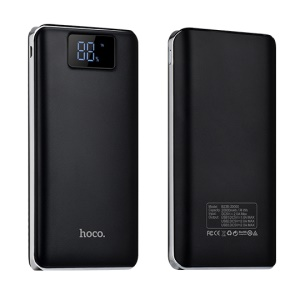 HOCO B23B-20000 3-Port USB 20000mAh Flowed Portable Battery Charger for Samsung S8 etc. - Black