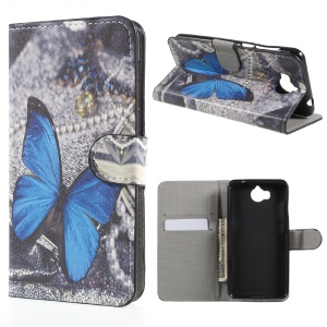 Patterned Leather Wallet Stand Mobile Phone Case for Huawei Y5 (2017) / Y6 (2017) - Blue Butterfly