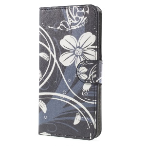 Patterned Wallet Leather Stand Protector Case for Huawei Y5 (2017) - White Flowers