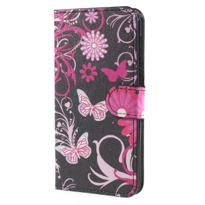 Patterned Leather Wallet Stand Mobile Phone Case Shell for Huawei Y5 (2017) - Floral Butterflies