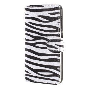 Patterned Leather Wallet Shell with Stand for Huawei Y5 (2017) - Zebra Stripes