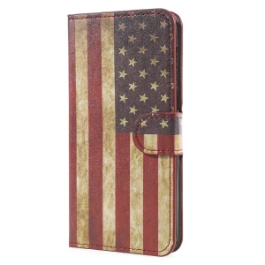 Patterned Wallet Leather Mobile Casing Cover for Huawei Y5 (2017) - Retro American Flag