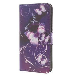Patterned Leather Wallet Cell Phone Case with Stand for Huawei Y5 (2017) - Purple Butterflies