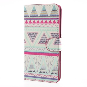 Magnetic Patterned Leather Stand Wallet Case for Huawei Y5 (2017) - Tribal Triangles