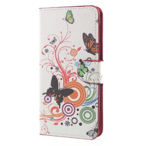 Patterned Leather Wallet Mobile Phone Case with Stand for Huawei Y5 (2017) - Butterfly Circles