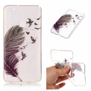 Pattern Printing IMD TPU Phone Shell Case for Huawei P10 Lite - Feather Pattern