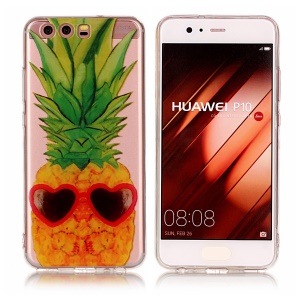 Pattern Printing IMD TPU Shell Cover Case for Huawei P10 - Pineapple Pattern
