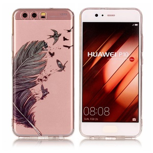 Pattern Printing IMD TPU Case Cover for Huawei P10 - Feather Pattern