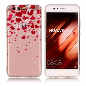 Pattern Printing IMD TPU Cell Phone Case for Huawei P10 - Hearts and Flowers
