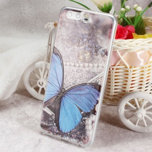 Softlyfit Embossing TPU Cell Phone Cover for Huawei P10 - Blue Butterfly