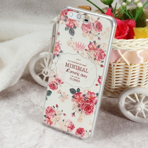 Softlyfit Embossed TPU Mobile Phone Casing Accessory for Huawei P10 - Peonies and Quote