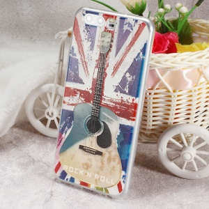 Softlyfit Embossed Flexible TPU Mobile Phone Casing for Huawei P10 - UK Flag and Guitar