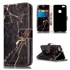 Pattern Printing Wallet Leather Mobile Case for Huawei P10 Lite - Black Marble Pattern