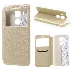 Cross Texture Smart View Leather Phone Case for Huawei nova plus - Gold