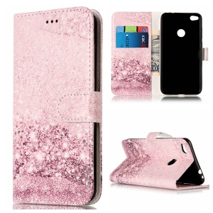 Pattern Printing Wallet Leather Phone Casing with Stand for Huawei P8 Lite (2017) / Honor 8 Lite - Glittery Sequins