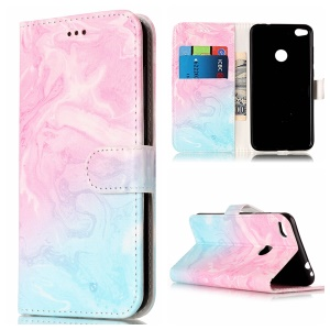 Pattern Printing Stand Leather Wallet Flip Case for Huawei P8 Lite (2017) / Honor 8 Lite - Blue and Rose Lava Pattern