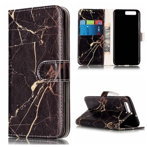 Pattern Printing Wallet Stand Leather Phone Case for Huawei P10 - Black Marble Pattern