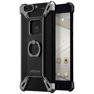 NILLKIN Barde Metal Plated Hard Bumper Case with Kickstand Ring Holder for Huawei P10 - Black