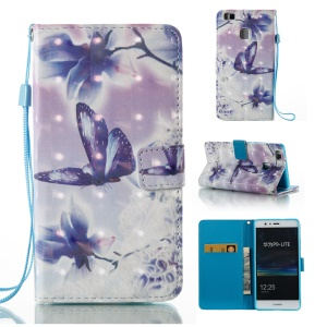 Printing Pattern Light Spot Decor Leather Wallet Folio Case for Huawei P9 Lite/G9 Lite - Flowers and Butterflies