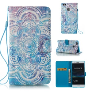 Printing Pattern Light Spot Decor Leather Card Holder Stand Cover for Huawei P9 Lite/G9 Lite - Henna Lotus