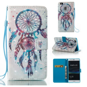 Printing Pattern Light Spot Decor Leather Wallet Flip Case for Huawei P9 Lite/G9 Lite - Blue Dream Catcher